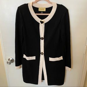 St. John Jeans Black Cream Brooch Knit Cardigan